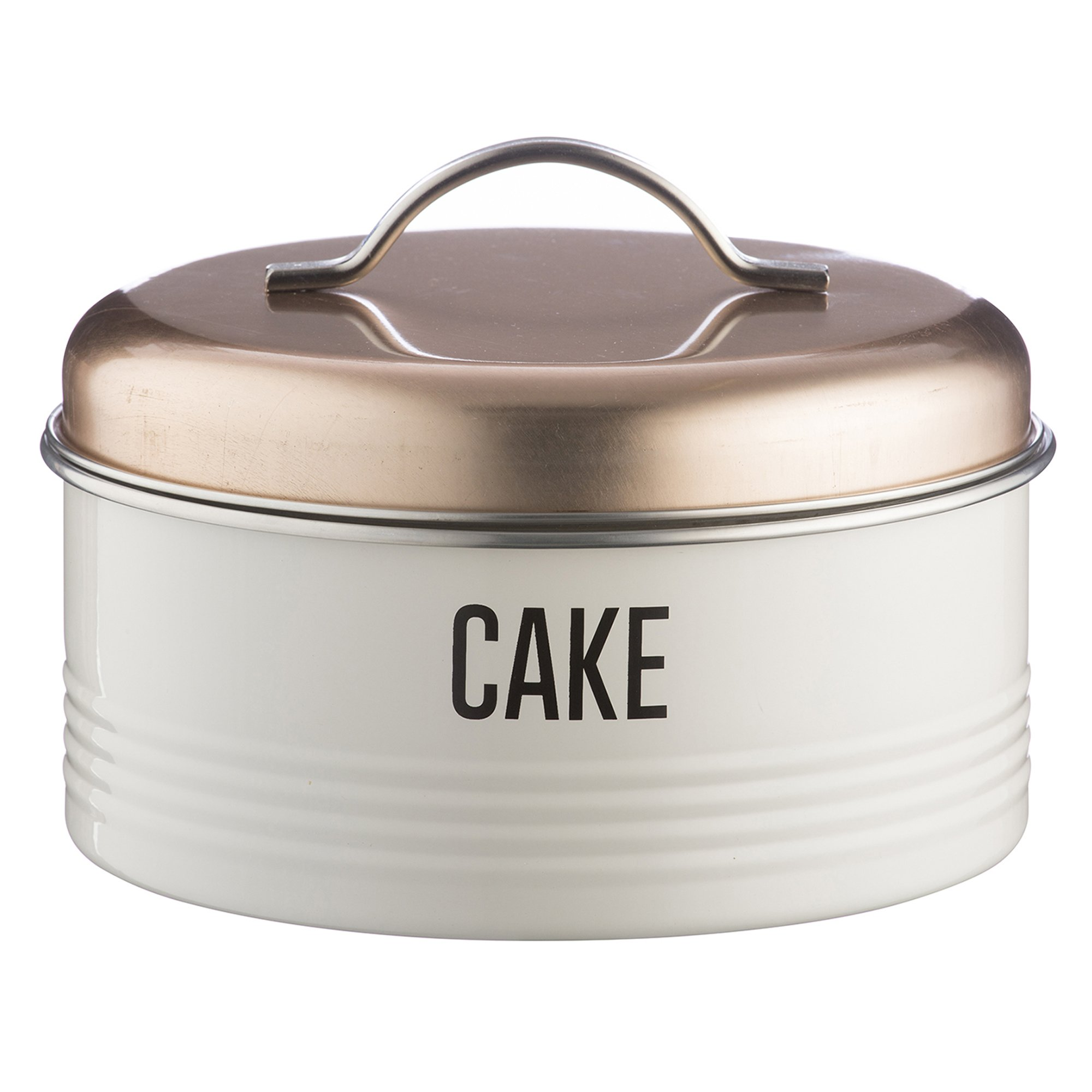 Typhoon Vintage Copper Coated Steel Cake Storage Tin with Airtight Lid; Designed To Hold Cakes, Muffins and Sweet Treats; 128-Fluid Ounces; Copper and White