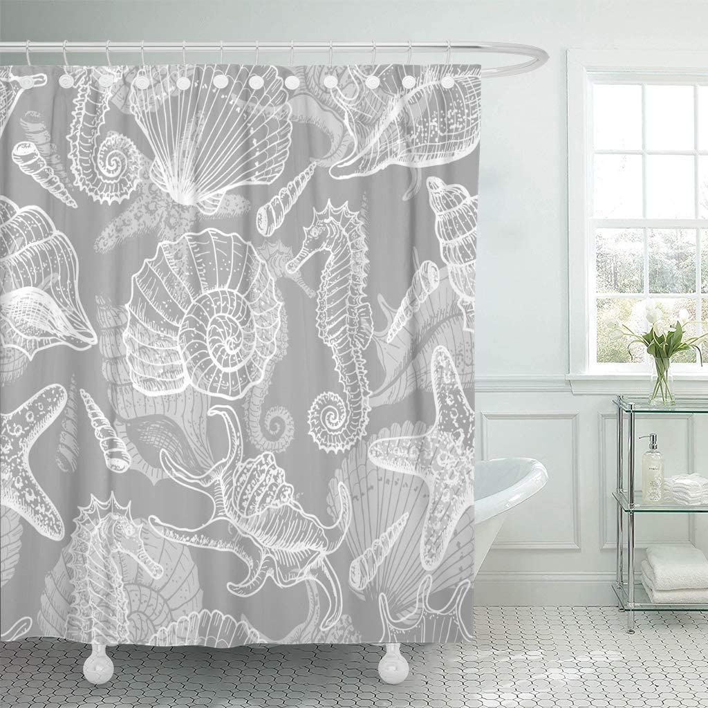 Amazon Com Abaysto Gray Fish Sea Original In Vintage Style Star Sketch Animal Seahorse Seashell Bathroom Decor Shower Curtain Sets With Hooks Polyester Fabric Great Gift Home Kitchen