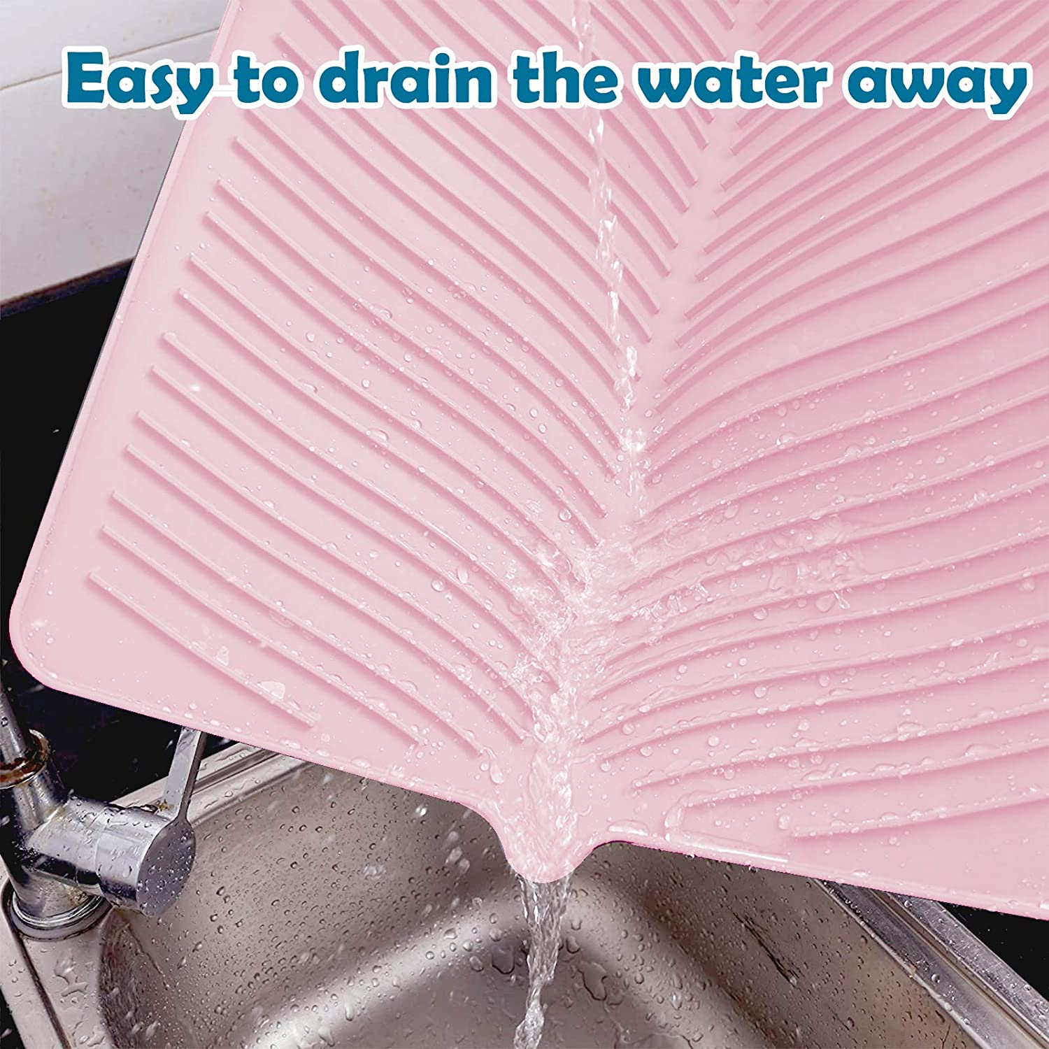 Silicone Dish Drying Mat Easy Clean Dishwasher Safe Heat Resistant Countertop Protection Trivet Multifunctional Kitchen Heat Proof Mat Yahi Pink