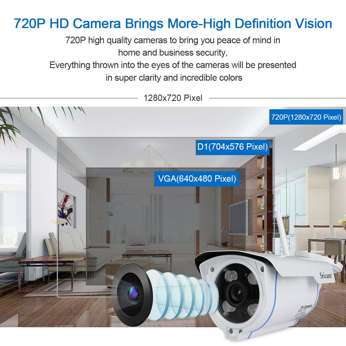Sricam Wireless IP Camera 720P Outdoor Security Camera H.264 ONVIF IR-CUT with Automatic Night Vision Support IOS and Android System/Remote View/Motion Detection