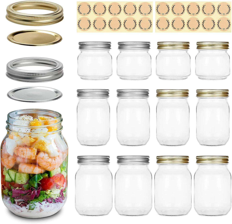 Mason Jars Regular Mouth Canning Jars with Lids in 8OZ X 4, 12OZ X 4, 16OZ X 4, 12 Packs Idea for Jam, Honey, Wedding Decor, Shower Favors, Foods Storage, DIY Magnetic Spice Jars, 20 Labels Included