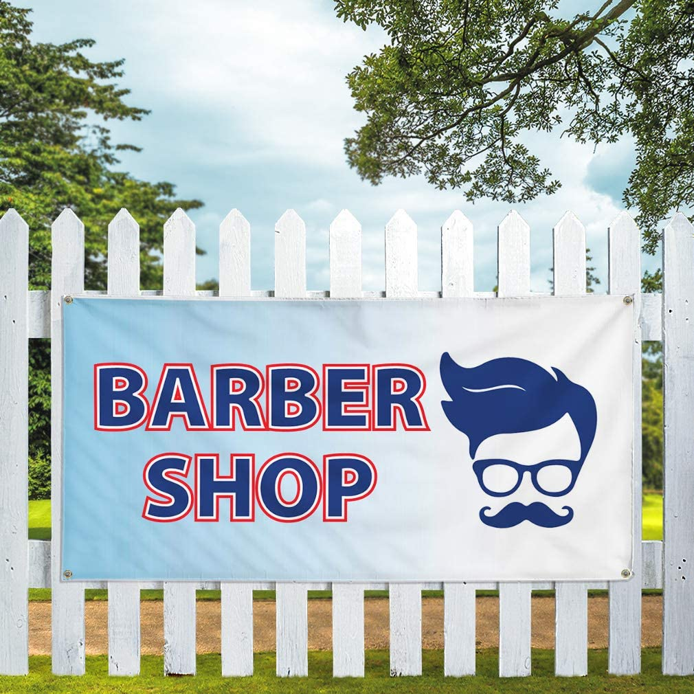 Vinyl Banner Multiple Sizes Barber Shop Business H Business Outdoor Weatherproof Industrial Yard Signs White 10 Grommets 60x144Inches