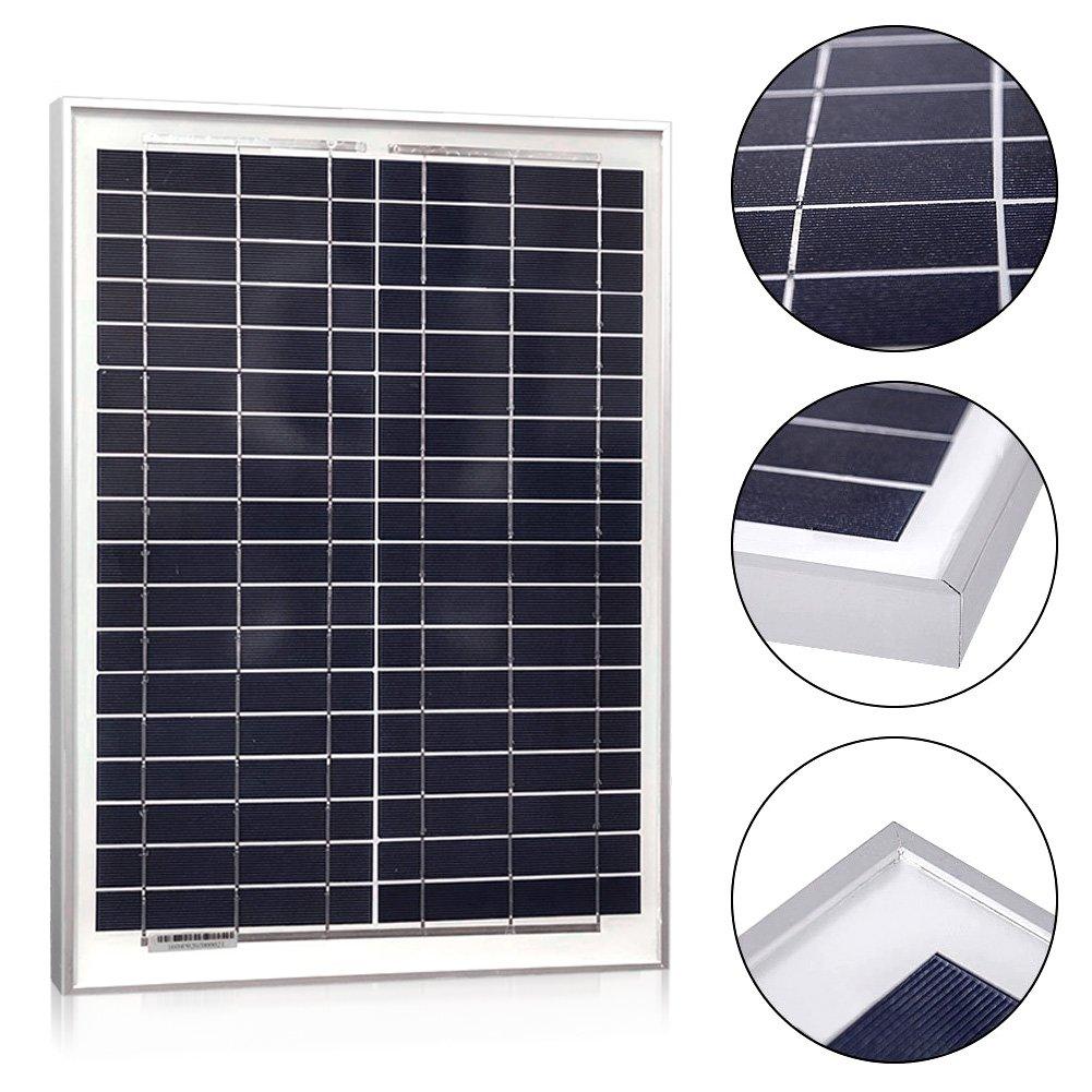 powereco panels- Solar policristal, 10 W, 20 W, 30 W, 40 W para 12 V baterías: Amazon.es: Jardín