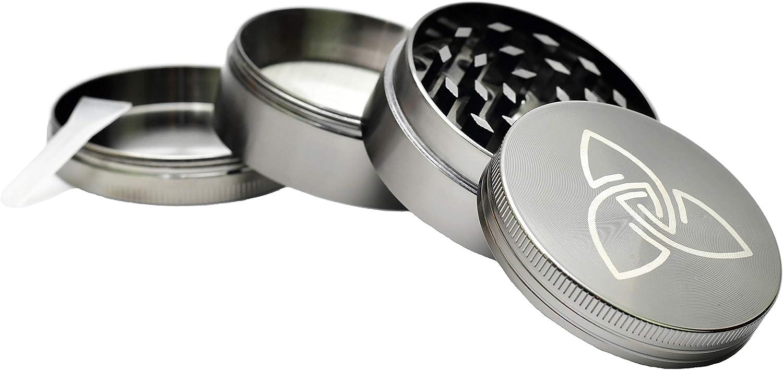 Zen Vaporizers Molinillo Picadora Manual - Máquina Trituradora para Tabaco y Alimentos - Grinder Hierbas - Compartimento para Polen y Raspador - Accesorios de Cocina y para Fumar - Tapa Magnética