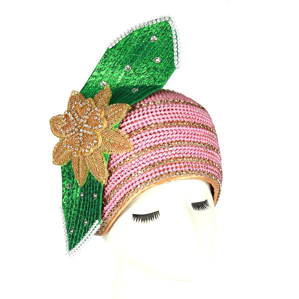 June's Young Women Church Hats Formal Wedding Party Big Bow Elegant Two Colors Stones (Pink Green)