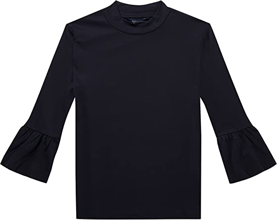 Scotch & Soda Clean Long tee with Ruffle Sleeve Camiseta para Mujer
