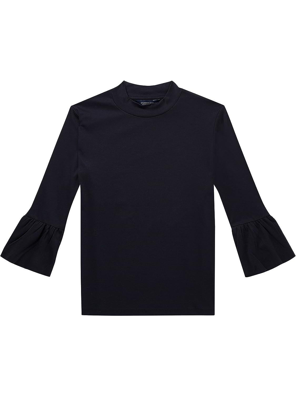 TALLA XL. Scotch & Soda Clean Long tee with Ruffle Sleeve Camiseta para Mujer