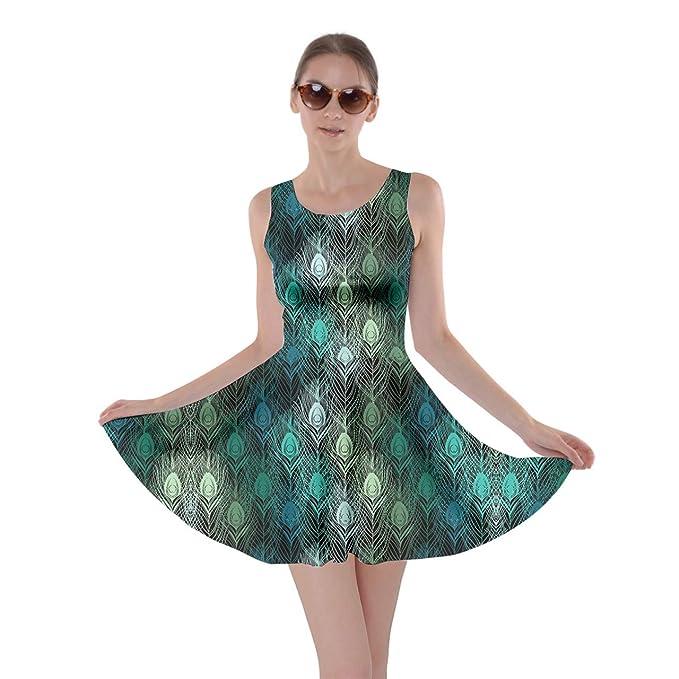 3d5ca5b9a07 CowCow Womens Peacock Dark Feathers Skater Dress - XS