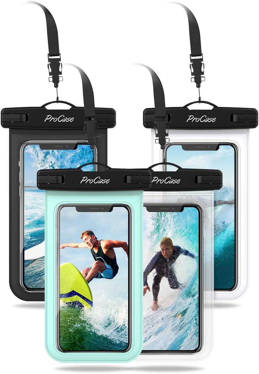 "ProCase Universal Cellphone Waterproof Pouch Dry Bag Underwater Case for iPhone 11 Pro Max Xs Max XR X 8 7Plus, Galaxy S10+ S9 S8+/ Note 10+ 9 8, Pixel 4XL up to 6.8"" - 4 Pack, Black White Green Clear"