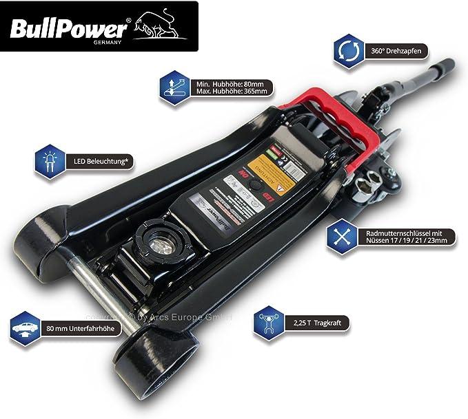 Bullpower Bp600k Wagenheber 2 25t Low Profile 80mm 365mm 2250kg Mit Led Für Racing Sportwagen Rennsport Auto