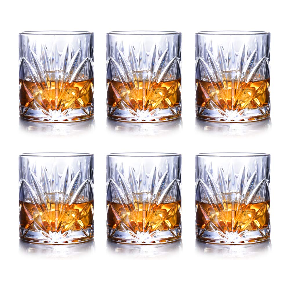 Whiskey Glasses Set of 6, Scotch Bourbon 10oz Crystal Whiskey Glass Cups, 100% Lead Free Old Fashioned Glasses Drinkware Gift by JASVIC