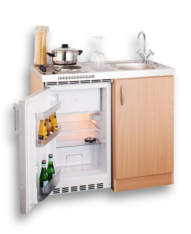 MEBASA MEBAKB100OOS Miniküche Komplettküche 100 cm in Buche ... | {Miniküche mit kühlschrank 3}