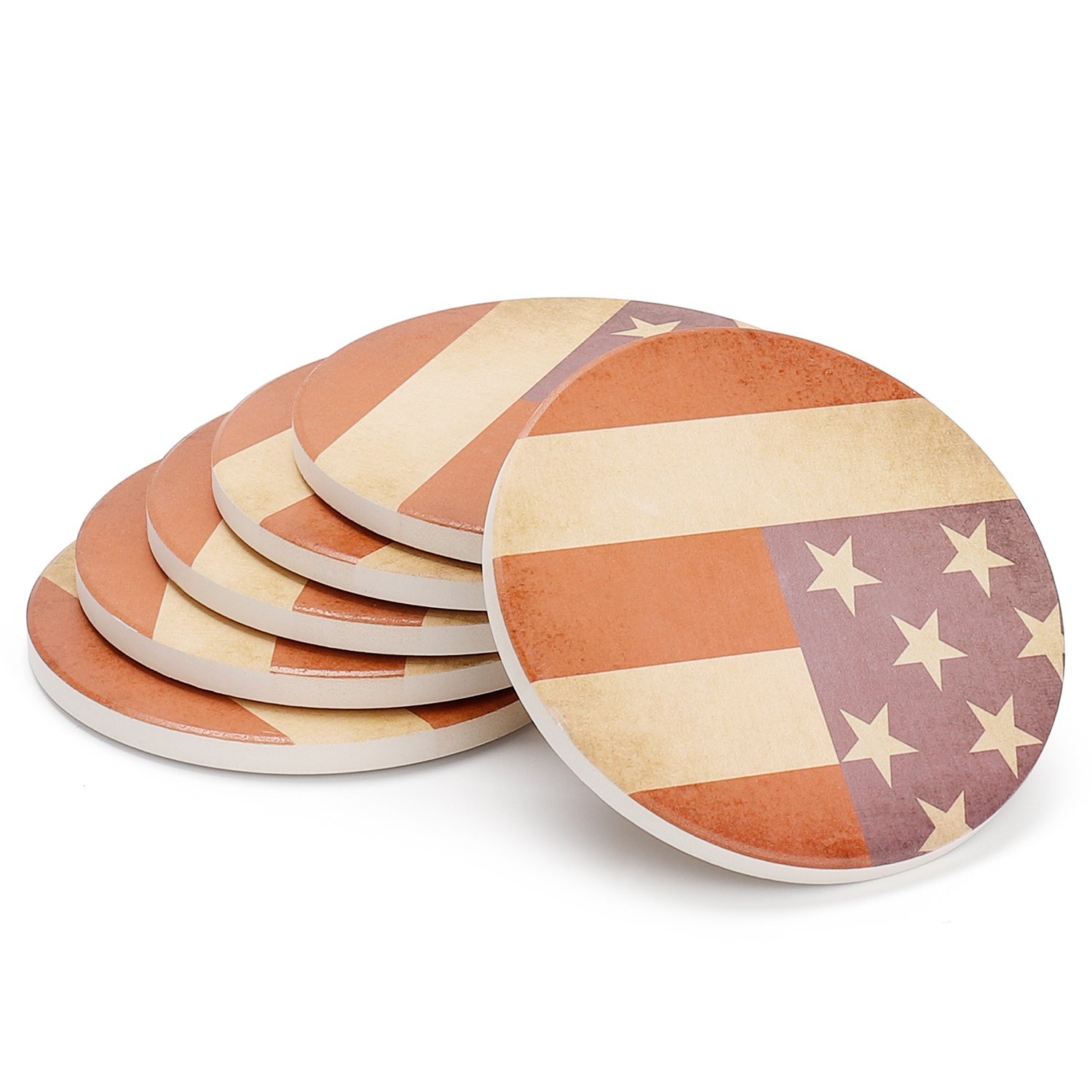Teocera Drink Coasters - Absorbent Coaster Set with Cork Base Keep Drinks Spill Off Table, Natural Ceramic Coasters for Drinks, American Flag Style for 4th of July Decorations …