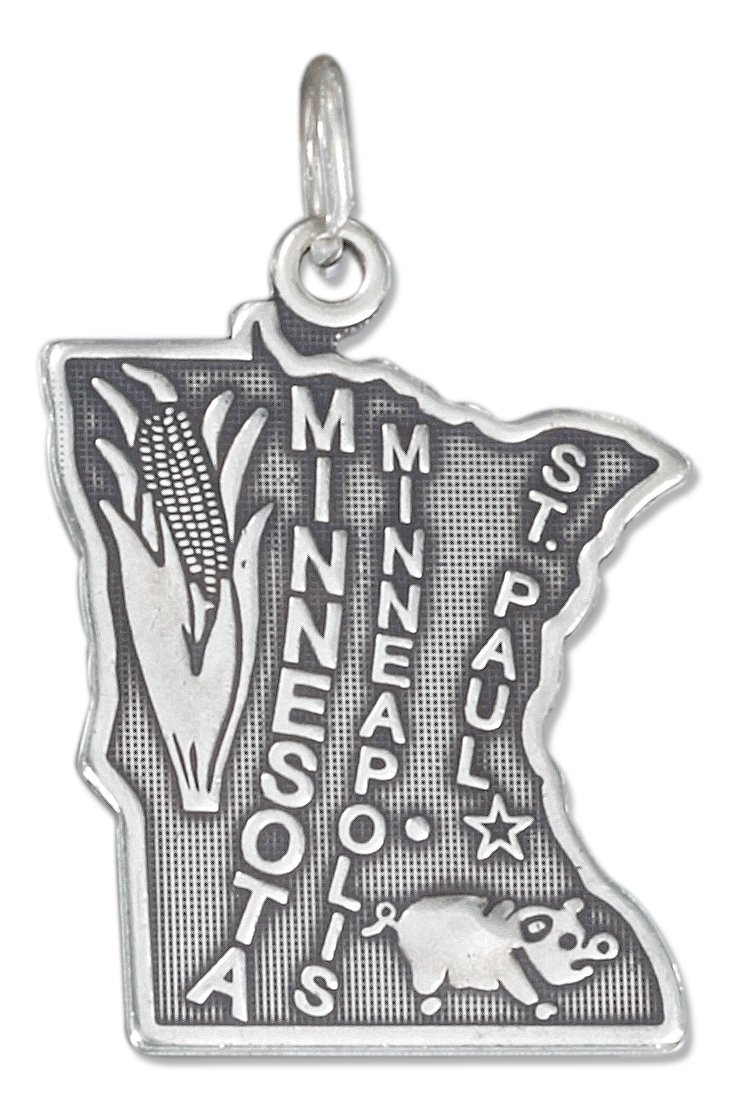 Sterling Silver Antiqued Minnesota State Charm