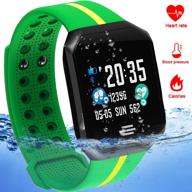 Waterproof Sport Fitness Tracker - IP67 Smart Watch for Men Women with Heart Rate Blood Pressure Sleep Monitor Calorie Pedometer Smart Bracelet Outdoor Swim Run Tracker Android iOS (Green)