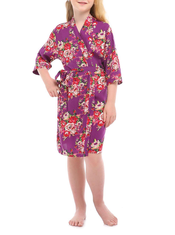 missfashion Girl's Black Floral Rayon Cotton Kimono Robe for Bridesmaid Sleepwear Wedding Nightgown(8,Purple)