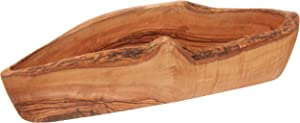 Gourmet Living Rustic Olive Wood Bread Basket   Wooden Serving Bowl for Baguettes, Artisan Breads, Fruits and Nuts   Each Dish is Unique