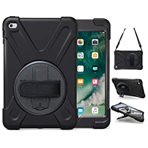 iPad Mini 4 Case, TSQ Heavy Duty Three Layer Drop Protection Shockproof Carrying Rugged Protective Case With 360 Degree Stand, Handle Hand Strap& Shoulder Strap,Mini 4 Cover For Kids A1538 A1550 Black