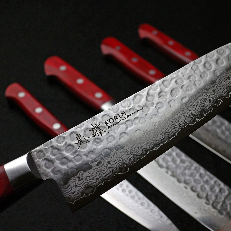 Korin Tsuchime Hammered Damascus Santoku with Burgundy Red Handle 7.0'' (18cm) by Korin (Image #2)