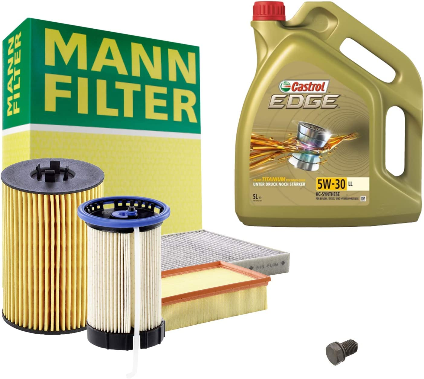 Inspektionspaket Mann Filter 5l Castrol Edge 5w30 Filterset Service Set Set P H 05 00102 Service Wartung Auto