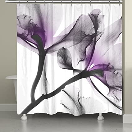 Laural Home LAVL74SC Contemporary X Ray Flowers Shower Curtain Floral Lavender