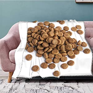 Pile of Dry pet's Food Croquette,Flannel Fleece Blanket,Queen Soft m ffy PMicrofiber Blankets for Bed Couch Chair Living Dog 60''x50''(WxL)