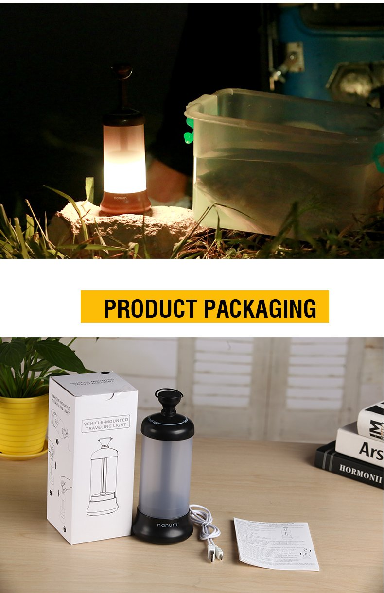 Nanum Camping Lantern Led USB Rechargeable Night Light Bedside Vehicle Emergency Travel Lamp Portable with 4 Modes Specially Designed for Home Garden and Outdoor Survival Activities(Black)