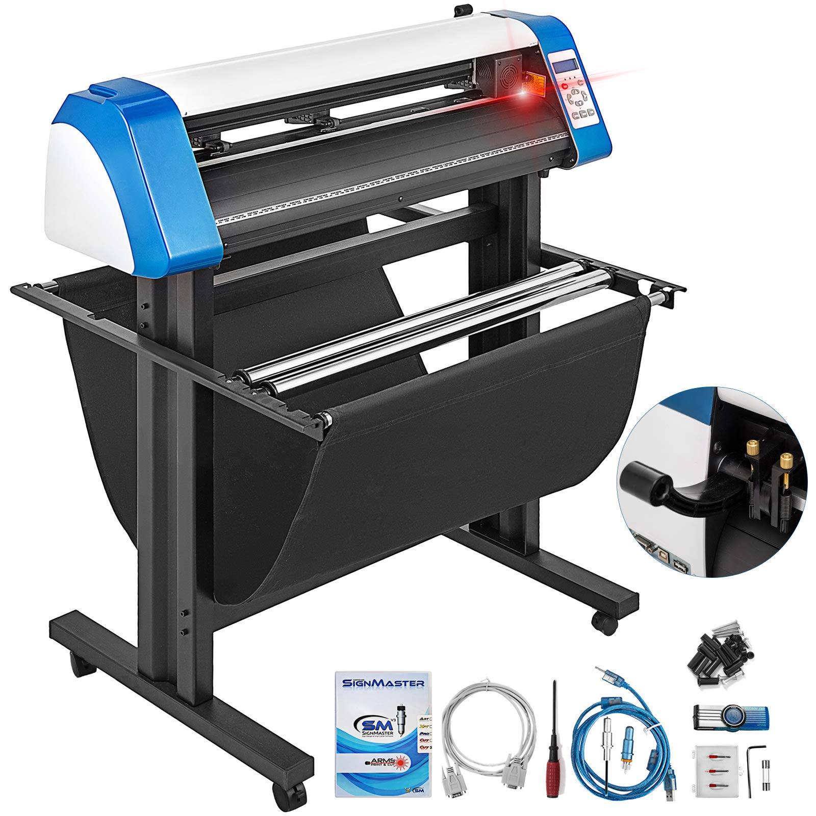 VEVOR Vinyl Cutter 34 Inch Vinyl Cutter Machine Semi-Automatic DIY Vinyl Printer Cutter Machine Manual Positioning Sign Cutting with Floor Stand Signmaster Software by VEVOR