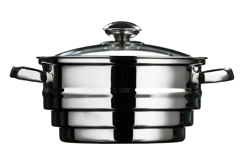 diametro 21 cm x altezza 15 cm Premier Housewares Multi Vapore in acciaio con coperchio in vetro
