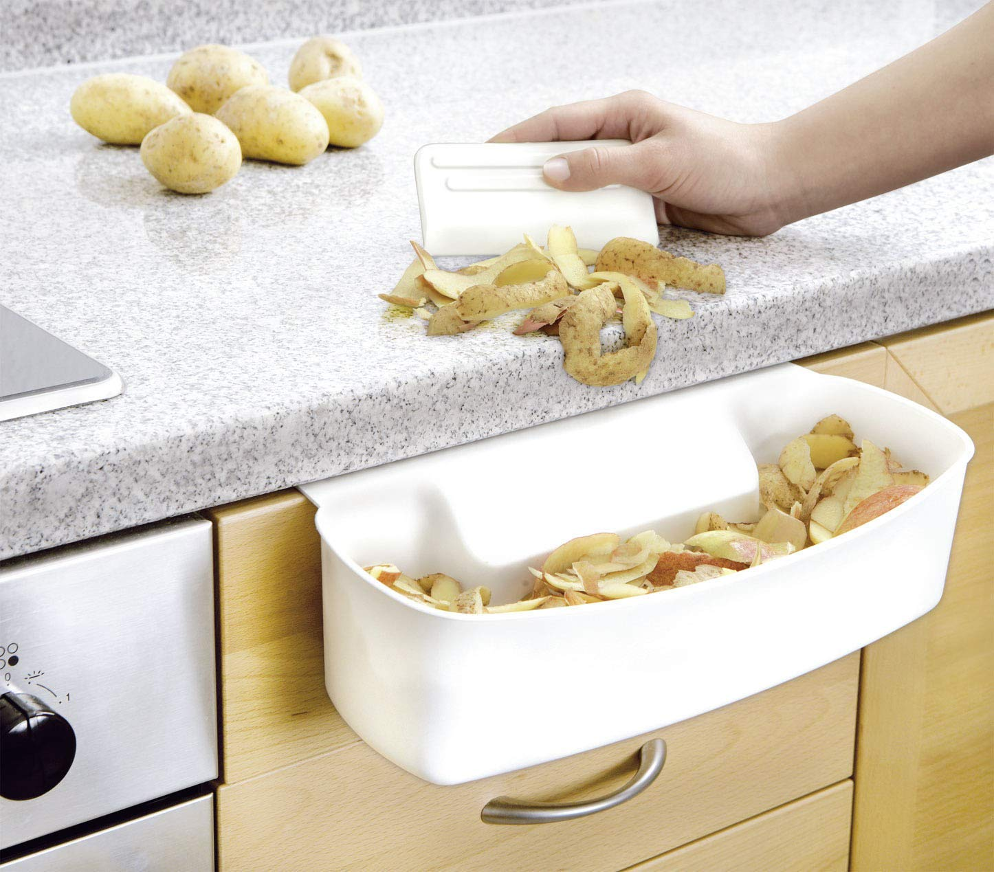 WENKO 7730100 Recipiente para cocina para recoger las basuras - con rascador, Plástico - PP