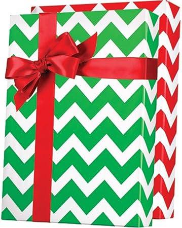 amazon com reversible red green chevron christmas gift wrap