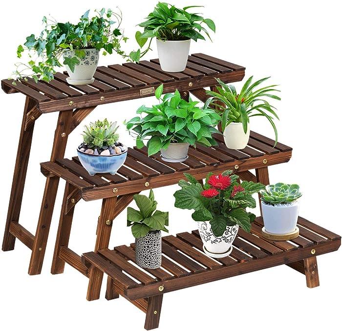 Giantex Wood Plant Stand, Multi Tier Flower Pot Holder Display Shelf for Home Balcony Patio Garden Flower Shop, Outdoor Indoor Ladder Flower Pot Organizer Display Rack (3 Tiers Step Plant Stand)