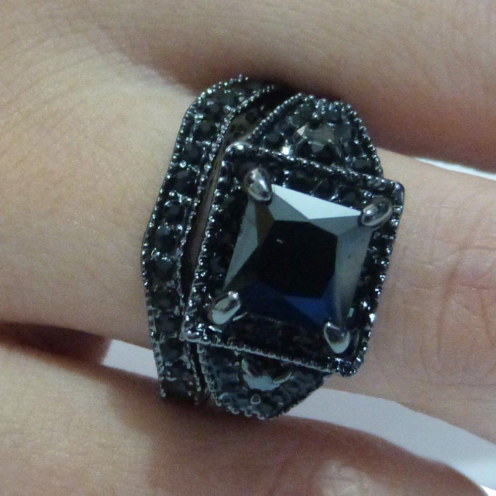 Jude Jewelers Balck Rhodium Princess Cut Wedding Engagement Ring Set (8) by Jude Jewelers (Image #6)
