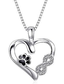 b0bbb7519b Sllaiss 925 Sterling Silber Herz Halskette Pfote für Damen Mädchen Anhänger  Halskette Infinity Kristalle von Swarovski