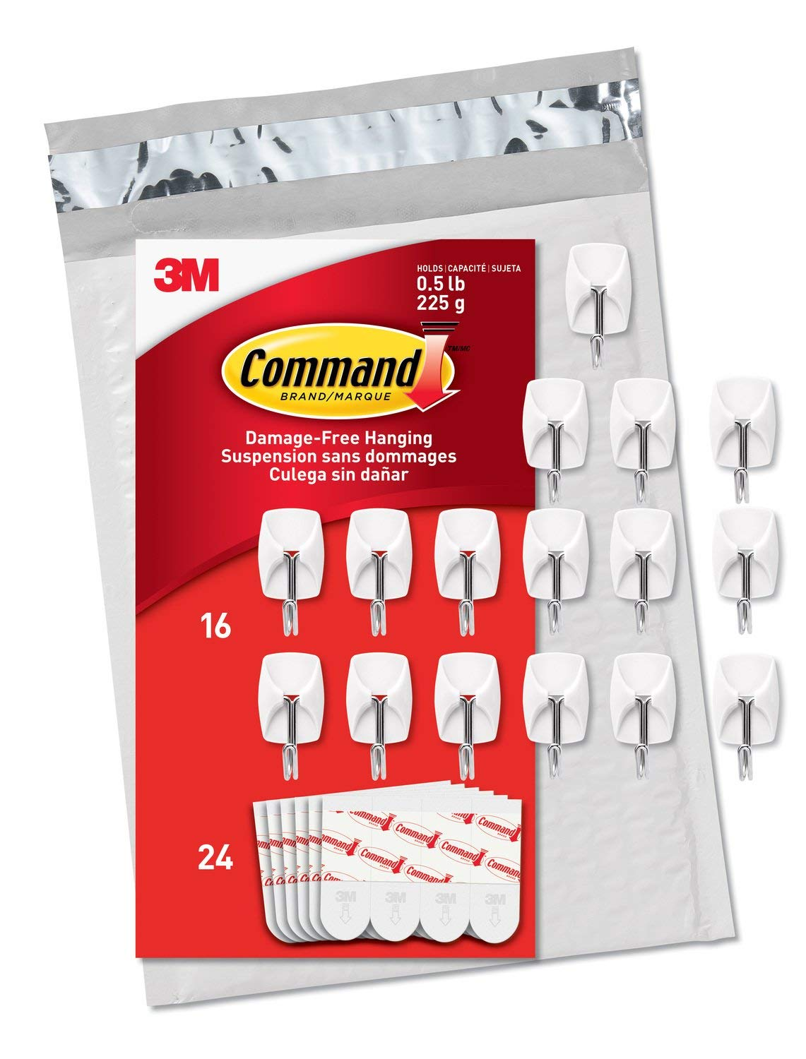 Command by 3M Damage-Free Small Wire Hooks MFCCG, White, Holds 0.5 lbs, Hang Without Tools, Value Pack, Easy to Open Packaging, 56 Hooks