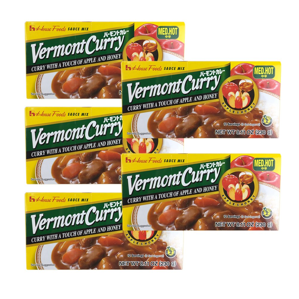 [ 5 Packs ] House Foods Vermont Curry Medium Hot 8.11 Oz (230g)