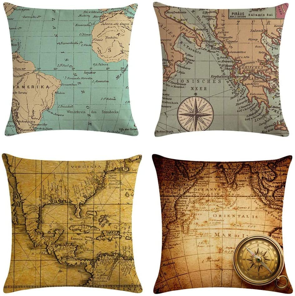 Homyall Map Decorative Pillow Covers
