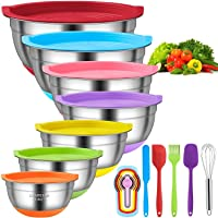 Mixing Bowls with Airtight Lids, 11pcs Stainless Steel Nesting Mixing Bowls Set – Non-slip Silicone Bottom, Size 7, 5.5…