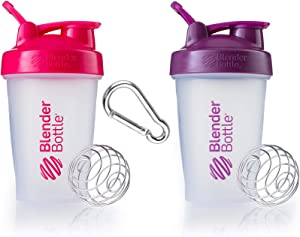 Classic Blender Bottle with Stainless Steel Wire Whisk Ball - The World's Best Selling and Original Iconic Design - BPA and Sulfate Free for All of Your Shaker Bottle Needs - 2 Pk w/Clip (Pink|Plum)