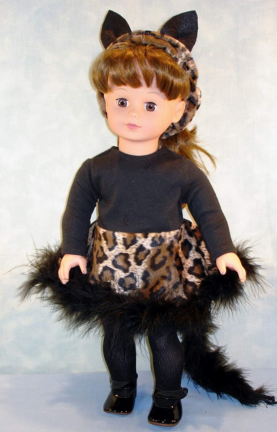 Black Cat Halloween Costume handmade by Jane Ellen to fit 18 inch dolls 18 Inch Doll Clothes