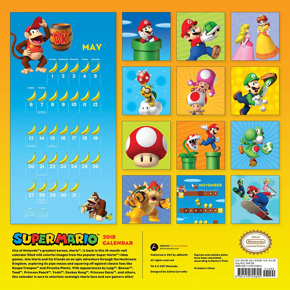 Amazon.com: Super Mario™ 2018 Wall Calendar (9781419724695 ...