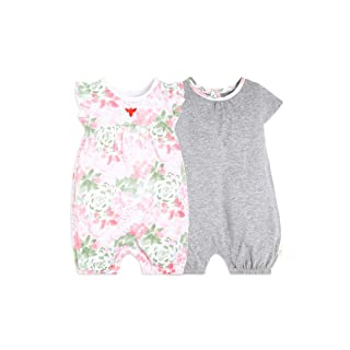 Burt's Bees Baby Baby Girls Rompers, Set of 2 Bubbles, One Piece Jumpsuits, 100% Organic Cotton, Tossed Succulent, 3-6 Months