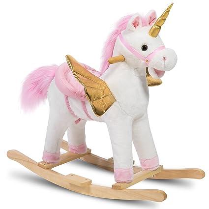 Amazon Com Hollyhome Plush Rocking Unicorn With Wings Stuffed