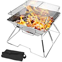 Odoland Outdoor Folding Campfire Grill, Camping Fire Pit, Outdoor Burner, 304 Premium Stainless Steel, Portable Camping…