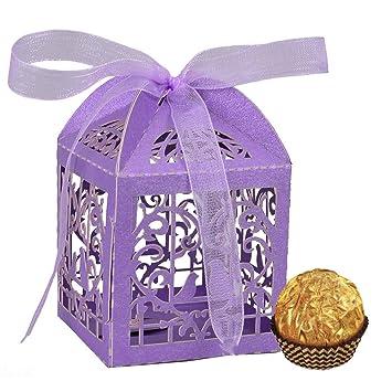 Lote de 25 cajas huecas, decorativas, con lazo y diseño de jaula ...