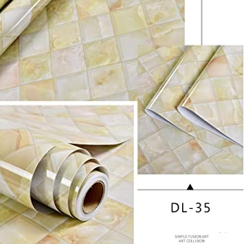 Jewh Self Adhesive Marble Vinyl Wallpaper Roll Furniture Decorative Film Waterproof Wall Stickers for Kitchen -