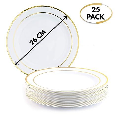 25 Elegante Calidad Premium Platos Desechables con Borde Dorado, 26cm - Durable Platos de Plástico