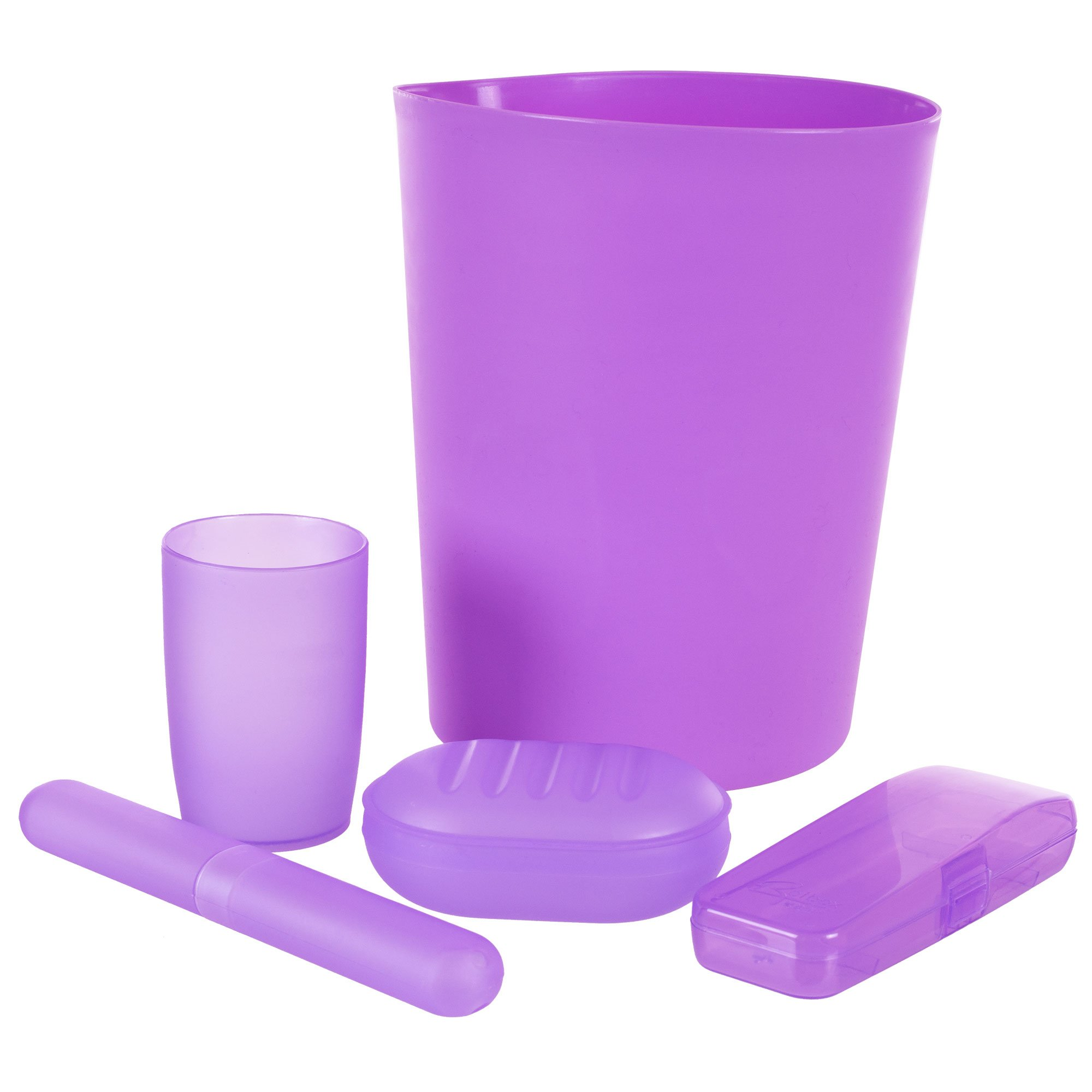 Everyday Home 5-Piece Bathroom Waste Basket and Toiletry Set, Purple