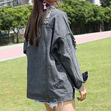 BABY-QQ New style Oversize Denim Long Women Vintage Washed Long Sleeve Bomber Ripped Jaqueta