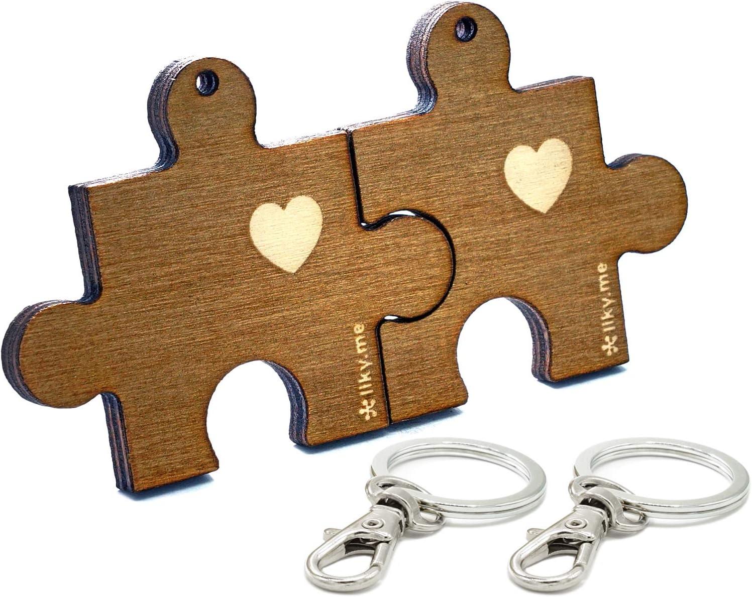 LIKY® Amor Puzzle - Llavero Partido corazón Parejas Novios Original de Madera Grabado Regalo para Aniversario San Valentín Mujer Hombre cumpleaños pasatiempo joyería Colgante Bolso Mochila